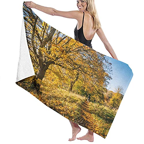 Spetlye Large Toalla de baño Blanket,Beautiful Park In Motherwell In Scotland with Orange Leaves, Trees, Path and Tree Branches,Bath Sheet Beach Towel for Family Hotel Travel Swimming,52' x 32'