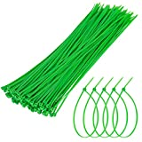 Unves Nylon Green Zip Ties, 100 Pieces 12 Inch Self Locking Garden Cable Ties, Reusable and Flexible Plant Twist Ties for Organizing, Home, Garden, Office Use