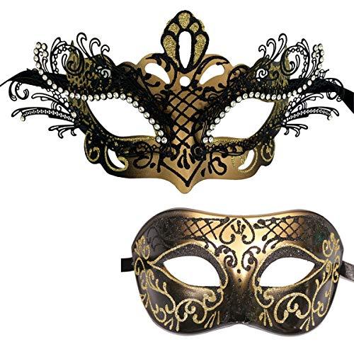 Xvevina Couple Masquerade Metal Masks Venetian Halloween Costume Mask Mardi Gras Mask (2 Pack Black Gold)
