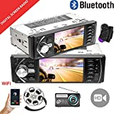 Riloer Navigazione GPS stereo per auto Bluetooth 1 DIN, schermo LCD da 4,1 pollici WIFI Multimedia lettore MP5 con 2 telecomandi, radio FM, supporto TF Card