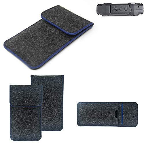 K-S-Trade® Filz Schutz Hülle Für Simvalley Mobile SPT-210 Schutzhülle Filztasche Pouch Tasche Case Sleeve Handyhülle Filzhülle Dunkelgrau, Blauer Rand