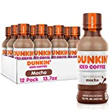 Dunkin Donuts Iced Coffee, Mocha, 13.7 Fluid Ounce (Pack of 12)