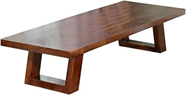 Coffee Table Solid Wood Tatami Coffee Table Balcony Desk Living Room Plus Long Table Tables (Color : Brown, Size : 100 * 50 *