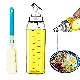 DAYNEW Dispensador De Aceite De Oliva y Vinagre con Boquillas Antigoteo - Dispensador De La Botella del Aceite y del Vinagre [Marcador de líneas con una Escala] 500ML,Cepillo de Regalo