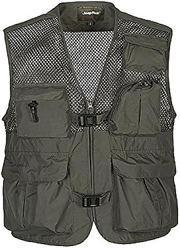 DDDFVVDS Mjj Coton Plus Taille Printemps été extérieure Multi Poche Veste de randonnée Photographie Professionnelle Vest. Pêche Gilet Gilet