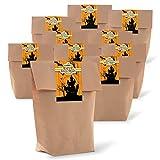 10 bolsas de regalo marrón con base de 14 x 22 x 5,6 cm de papel kraft + 10 pegatinas de 'castillo de halloween' para envolver regalos