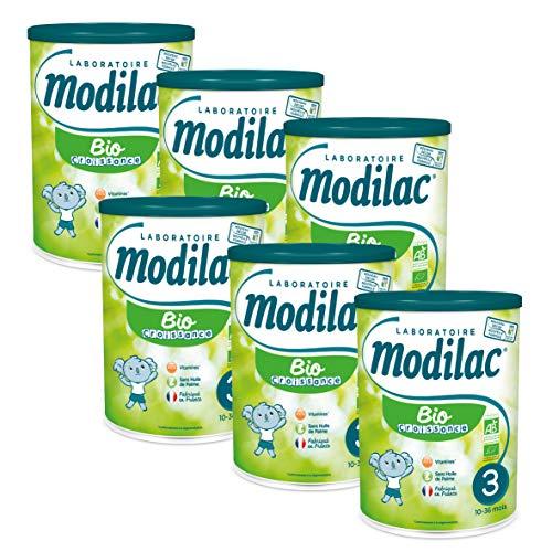 Laboratoire Modilac - Lait Infantile en Poudre Bio Croissance - 10-36 mois - 800g - Lot de 6
