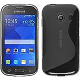 PhoneNatic Case kompatibel mit Samsung Galaxy Ace Style - grau Silikon Hülle S-Style + 2 Schutzfolien