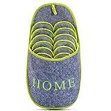 Juego de 6 zapatillas de casa antideslizantes para invitados, ABS, color gris y verde