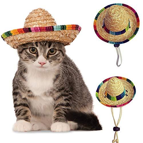 Etophigh Haustier-Hunde gesponnener Strohhut-Kostüm-justierbarer Sonnenhut für kleine Hunde und Katzen