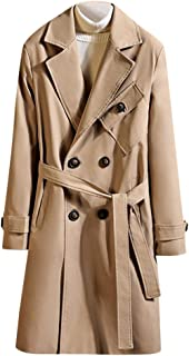 Men's Double Breasted Trenchcoat Stylish Slim Fit Mid Long Belted Windbreaker Casual Lapel Overcoat Outwear
