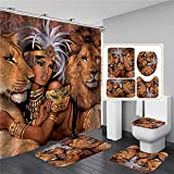 NUGKPRT Cortina de la Ducha,Animals Printed Shower Curtain Set Bathroom Bathing Screen Anti-Slip Toilet Lid Cover Carpet Rugs Kitchen Home Decor 4PCSSET1-D