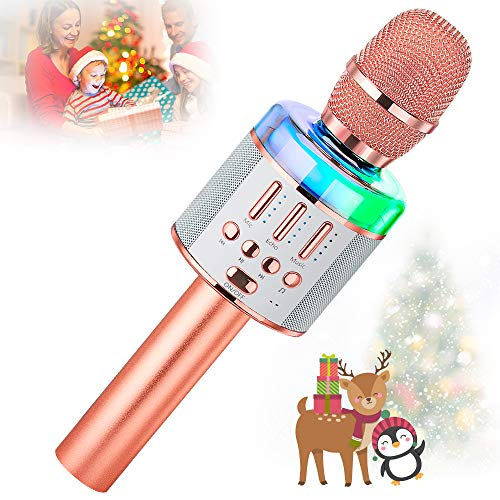 Wireless Karaoke Microphone Machine Toy- Amazmic Handheld Bluetooth Microphone for Karaoke with Lights, Best Toy for Kids Boys/Girls/Adults Birthday Party, Home KTV(Rose Gold)