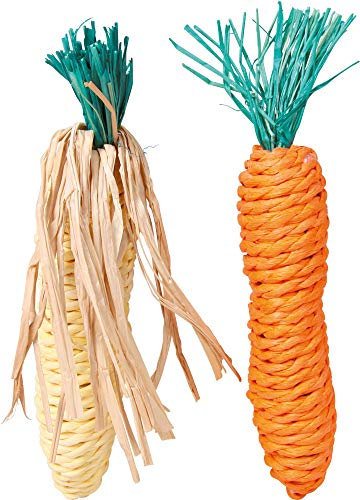 TX-6192 Set of Straw Toys Corn on The cob and Carrot 15cm