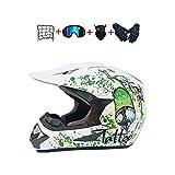 BHGJ Casco Motocross Niño,Diseñado con Diseño genial Cascos De Motocross Cascos de Cross de Moto Set con Gafas/Máscara/Guantes(Serie negra brillante,blanco verde) (S)