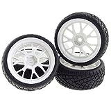 Rowiz White RC 1/10 Drift Car Tires Hard Tyre Y Shape 7 Spok Wheel for 1:10 On-Road Drifting Car