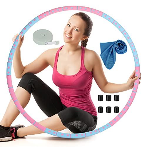 OOTO Hula Hoop Reifen Erwachsene, Hoola Hoop Reifen Erwachsene, Fitnessreifen Hullahub Reifen Abnehmbar 6 Segmente 1 bis 4 kg Verstellbar, mit Kühlendem Handtuch, Blau Maßband