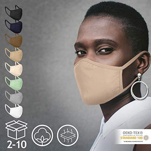Jago® Gesichtsmaske – Waschbar, 2-lagig, Filterfach, aus Baumwolle, für Damen und Herren, 2/4/6/8/10er Set und Farbwahl – Community-Maske, Behelfsmaske, Alltagsmaske, Stoffmaske (2er, Sand)
