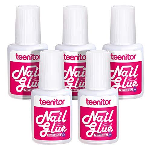 Nail Glue for Acrylic Nails and Press On Nails, 5 Pcs Teenitor Strong Brush On Glue Long Lasting Nail Bond Adhesive for False Nail Tips, Nail Art, Rhinestones Application, 10g,0.35oz/ Bottle (0.35 Ounce Brush)