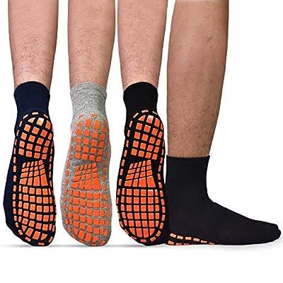 Men Non Slip Sticky Grips Socks - ELUTONG 3 Pairs Tile Wood Floors Anti-Skid Workout Yoga Pilates Hospital Slipper Socks