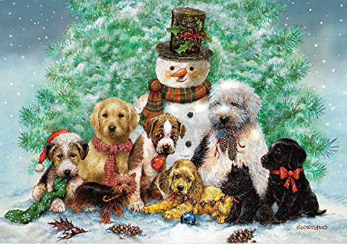 Puppies and Snowman (Christmas Cards, Holiday Cards, Greeting Cards)