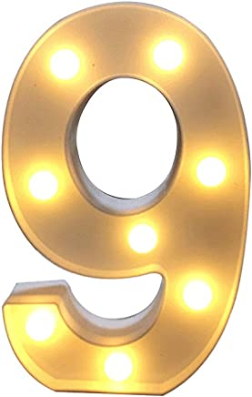 Ollivan 0-9 Numbers LED Light up White Plastic Digital Standing Hanging for Xmas Wedding Birthday Party Home Decor (9)