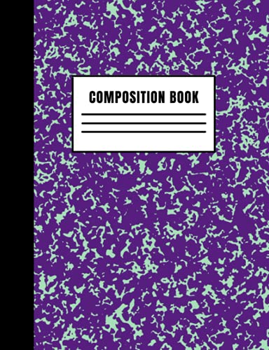 Composition Book: Purple Marble Wide Ruled Journal Notebook, Use for...