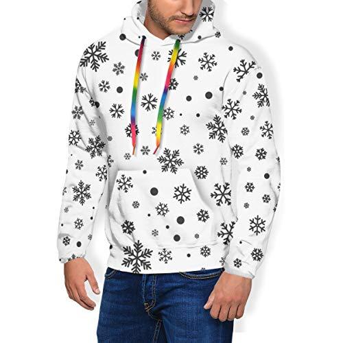 qingdaodeyangguo Men's Graphic Print Hoodie Snowflake Seamless Pattern Winter Faux Fur Lining Sweatshirts Pullover