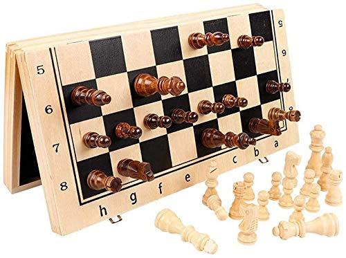 Juego de ajedrez Juego de ajedrez de Madera magnético, Tablero Plegable, Juegos de Tablero de ajedrez de Viaje portátiles Hechos a Mano con Piezas de Juego Ranuras de Almacenamiento Ajedrez