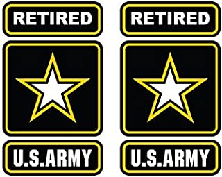 Two Pack Retired Army Sticker FA Graphix Die Cut Decal Self Adhesive Vinyl Ranger