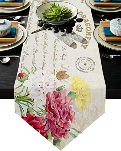 Infinidesign Dragonfly Table Runner, Cotton Table Runners Dining Table Home Decorations for Indoor and Outdoor Gatherings 13x108inch Floral Blooming Flowers Vintage Background
