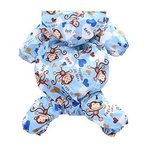 GLZKA huisdier regenjas Poncho waterdichte capuchon vierbenige polyester aap patroon jas voor kleine Teddy bichon hond huisdier kostuum zomer