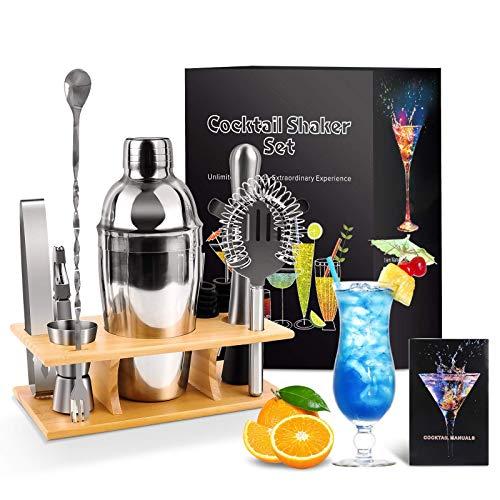 Cocktail Shaker Set,11 Pezzi Kit da Barman,550ml Cocktail in acciaio inox con Accessori,supporto in legno,cocktail book,set di strumenti bar,regalo