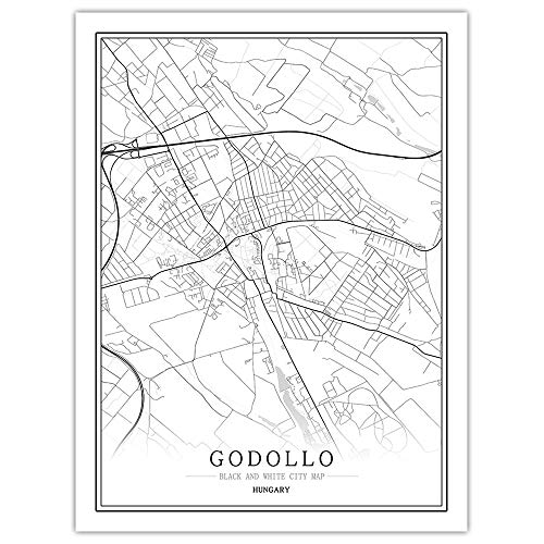 AGAGRG Prints Canvas,Modern Black White Map Europe Posters Hungary Godollo City Non-Woven Mural 3D Picture Vertical Wall Painting Art,Bedroom Home Decorations Office Artwork,40X50Cm No Frame