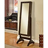 Nathan Direct Veranda Lockable Cheval Mirror Jewelry Armoire with Ring Holders, Earring Hooks, Necklace Hooks, and Shelves, Espresso