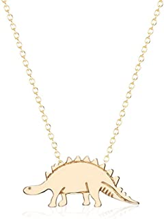 YOOE Cute Animal Small Dinosaur Pendant Necklace,Stainless Steel Gold Silver Brontosaurus Necklace,Women Jewelry Birthday Gift