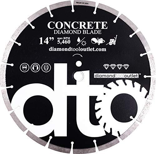 "Premium Diamond Segmented Saw Blade for Concrete, Block, Brick, Masonry, 1-Inch Arbor, Wet or Dry Cutting, Made in USA (14"" x .125"" x 1""-20mm arbor)"