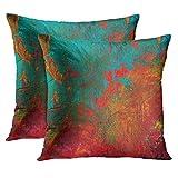 TORASS Set of 2 Throw Pillow Cover Burnt Orange Turquoise Gigi's Red Aqua Decorative Pillow Case Home Decor Square 18x18 Inches Pillowcase