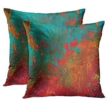 TORASS Set of 2 Throw Pillow Cover Burnt Orange Turquoise Gigi s Red Aqua Decorative Pillow Case Home Decor Square 18x18 Inches Pillowcase