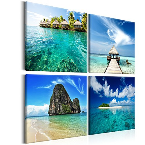 murando - Bilder Landschaft 80x80 cm Vlies Leinwandbild 4 Teilig Kunstdruck modern Wandbilder XXL Wanddekoration Design Wand Bild - Insel Meer Wasser Strand blau c-B-0048-b-i