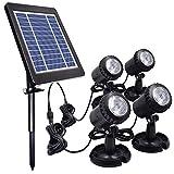 Teichleuchten, PChero Solar Unterwasser Landschaftsscheinwerfer mit 4 IP68-Tauchlampen für Garten, Pools, Teiche und andere Außendekorationen - [Weiß]