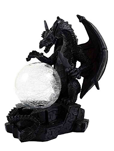 18cm black dragon ornament with a glass colour changing orb figurine