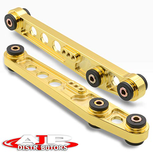 AJP Distributors Rear Lower Aluminum Control Arms LCA Gold 24K Suspension Stability Adjustable Alignment Upgrade Polyurethane Bushings Compatible/Replacement For Honda Civic CRX Del Sol Acura Integra