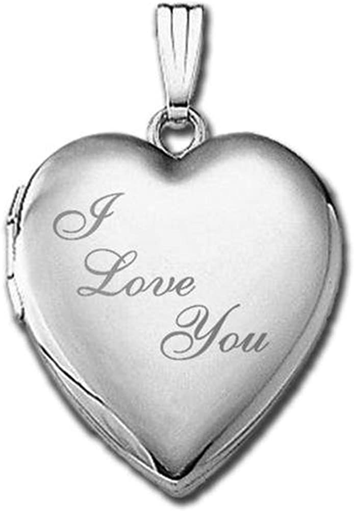 PicturesOnGold.com 14k White Gold Sweetheart I Love You Locket - 1 in. X 1 in. in Solid 14k White Gold with Engraving
