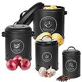 Totofac Vorratsbehälter Set für Zwiebel Aufbewahrung Kartoffel Aufbewahrung Knoblauch Aufbewahrung Kaffeebohnen Aufbewahrung,4 Teiliges Vorratsdosen Set