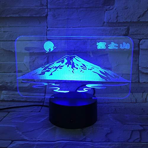Schöne Berg Fuji 3D Nachttischlampe Mehrfarbige Weihnachtsdekoration LED Nachtlicht Nachttischlampe Visueller Lichteffekt