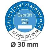 AVERY Zweckform 6986 fälschungssichere Prüfplaketten 2019-2024 (stark selbstklebend, Kleinformat, Ø 30 mm, 80 Aufkleber auf 10 Blatt, handbeschriftbare Klebefolie zur...