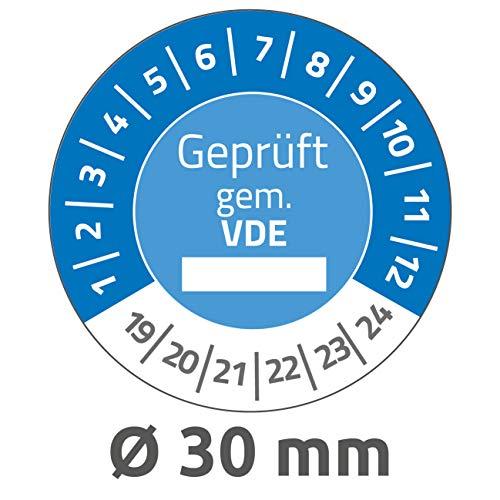 AVERY Zweckform 6986 onvervalsbare testplaketten 2019-2024 (sterk zelfklevend, klein formaat, Ø 30 mm, 80 stickers op 10 vellen, handbeschrijfbare plakfolie voor het aangeven van inventariteit) blauw