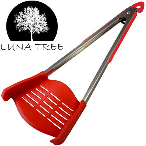 NEW DESIGN 2 in 1 HUGE spatula tongs by LUNA TREE. NEW arrival MULTI FUNCTION HUGE cookware utensil for serving salad flipping pancakes, cooking, grilling barbeque, dining, scraper, buffet