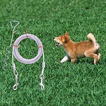 Câble d'attache pour chien avec piquet de piquet de terre en spirale - Out pour cour extérieure et piquet de laisse de camping en plein air + corde de traction à fil à crochet à double tête